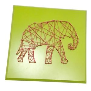 Other - Wooden Elephant String Art, Wall Decor Lime & Pink